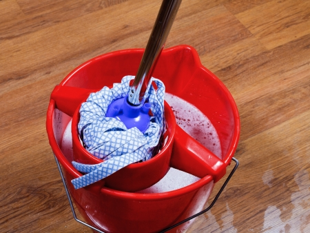 mop in red bucket with water for cleaning floors photo