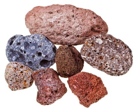 hardened: Specimens of pumice stones isolated on white background Stock Photo