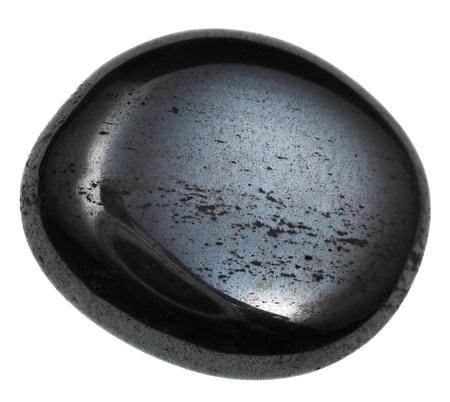 cabochon: ematite cabochon minerale isolato su sfondo bianco Archivio Fotografico