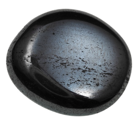 cabochon: haematite cabochon mineral isolated on white background Stock Photo