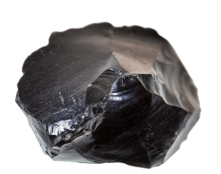 Ossidiana nera pietra isolato su sfondo bianco Archivio Fotografico - 21019142