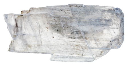 cabochon: Muscovite mica comune isolato su sfondo bianco