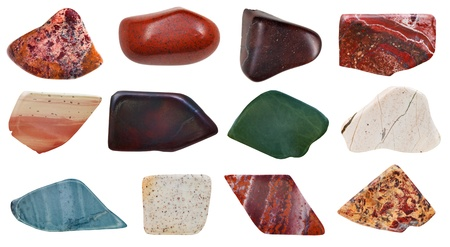 set of jasper specimens isolated on white background photo