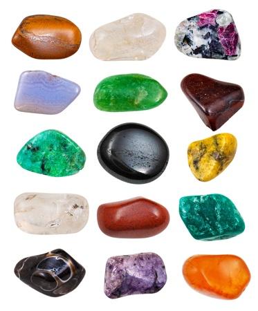 set of semi-precious stones isolated on white background Stok Fotoğraf