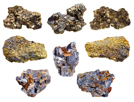 pyrite: set of pyrite and chalcopyrite minerals isolated on white background Stock Photo