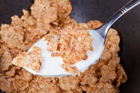yogurt and flakes in spoon close up photo