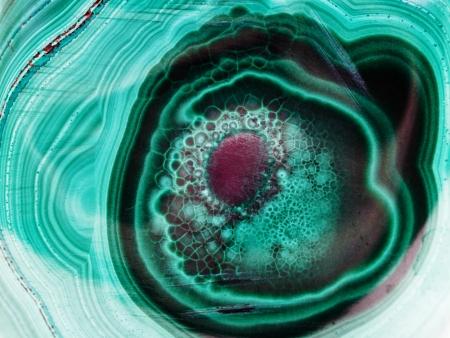 natuurlijke patroon op opgepoetst malachiet close up