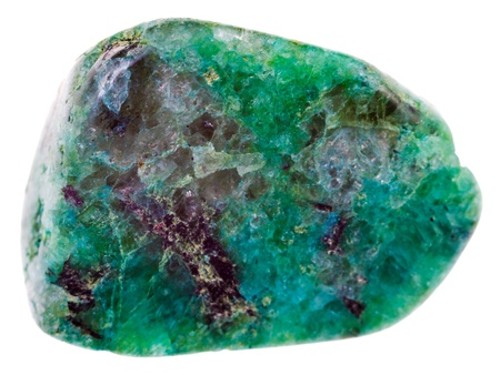 Chrysocolla mineral pebble isolated on white background photo