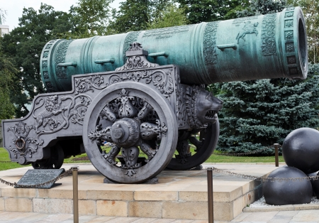 bombard: largest Tsar Cannon monument in Moscow Kremlin, Russia