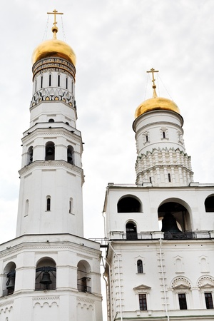 walls of Ivan the Great Bell Tower and Assumption belfry in Moscow Kremlin photo