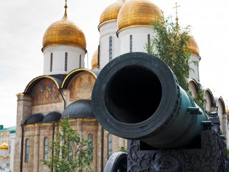 sobor: barrel of Tsar Cannon and uspensky sobor in Moscow Kremlin