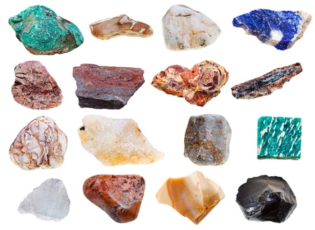 collection of rock minerals isolated on white background photo