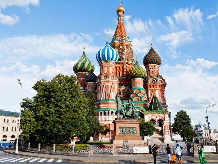 MOSCOW, RUSSIA - JULY 17: Saint Basil cathedral in Moscow, Russia on July 2013. The church was painted in such vivid colors in several stages from the 1680s to 1848.