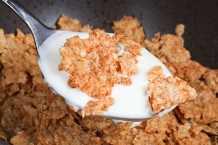 cornflakes: spoon with yogurt and cornflakes close up