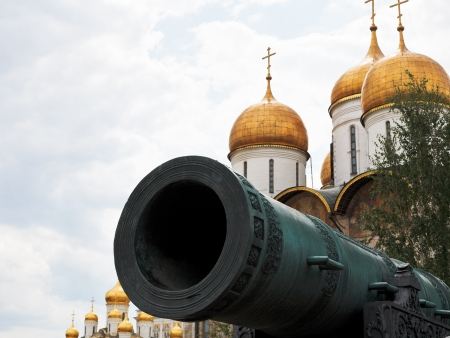 tsar: Tsar Cannon and dome of Dormition Cathedral, Moscow Kremlin Editorial
