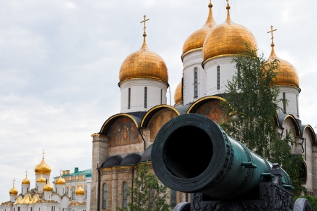 tsar: Tsar Cannon and gold cupola of Cathedrals in Moscow Kremlin