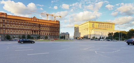 panorama of Lubyanka Square in Moscow in summer evening photo