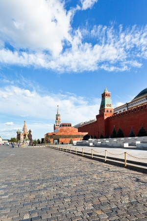 view of lenin mausoleum and kremlin wall on red square in Moscow
