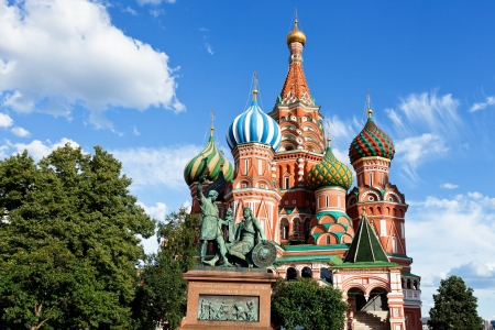 view of Saint Basil cathedral in Moscow, Russia