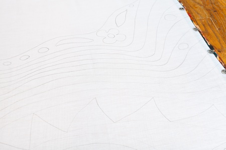pencil sketch: pencil sketch on white silk for cold batik painting