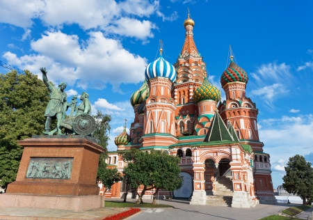 Monument of Minin and Pozharsky and Saint Basil cathedral in Moscow, Russia photo