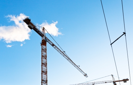 building crane under blue sky in summer evening Stock Photo - 21346371