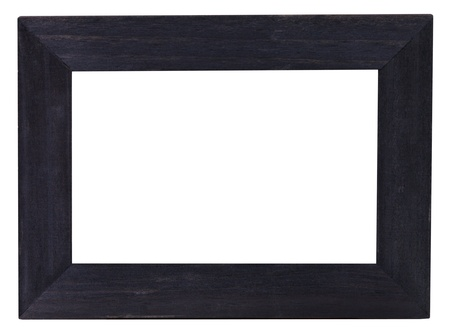 wide flat black picture frame with cutout canvas isolated on white background photo