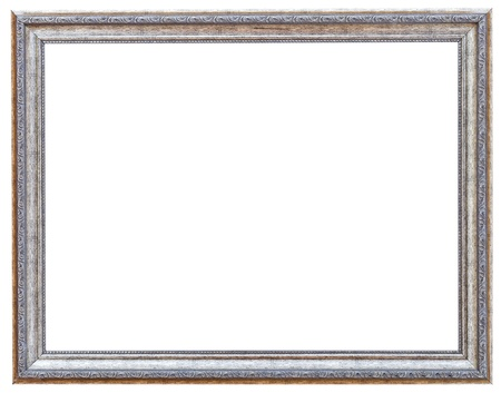 silvered: silvered ancient narrow picture frame with cutout canvas isolated on white background