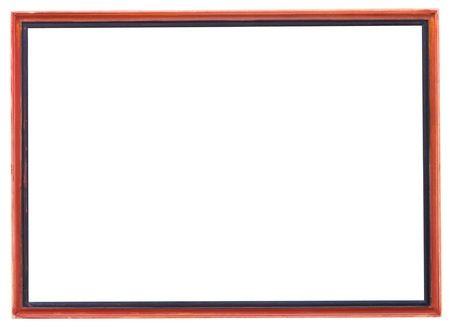 red and black narrow picture frame with cutout canvas isolated on white background photo