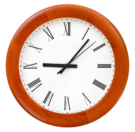 six minutes past nine on round dial wall clock photo