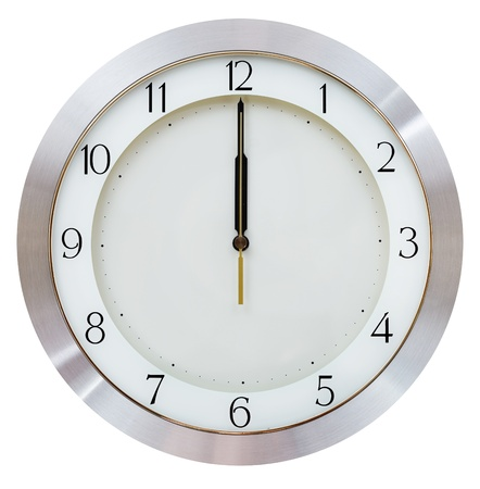 hour glass figure: even midnight - twelve o clock on the dial round wall clock Stock Photo