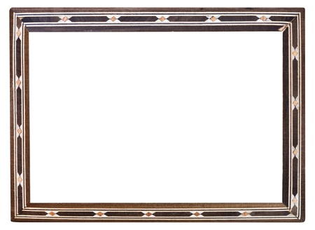 inlaid: retro inlaid narrow picture frame with cutout canvas isolated on white background