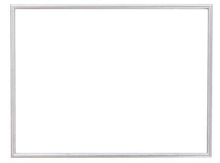 Einfache moderne Silber schmale Bilderrahmen mit Ausschnitt Leinwand isoliert auf weißem Hintergrund Standard-Bild - 21346493