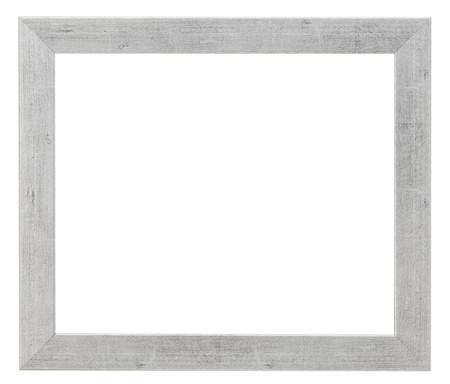 simple flat wide silver picture frame with cutout canvas isolated on white background photo