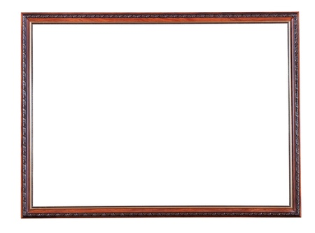 retro narrow brown wooden picture frame with cutout canvas isolated on white background Reklamní fotografie