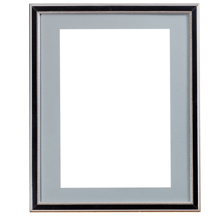 old black narrow picture frame with grey mat with cutout canvas isolated on white background photo