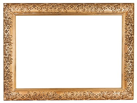 ancient baroque wide golden picture frame with cutout canvas isolated on white background photo