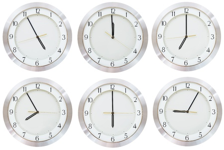 set of wall clock with working time isolated on white background photo