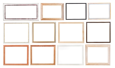 set of old simple picture frames with cutout canvas isolated on white background photo