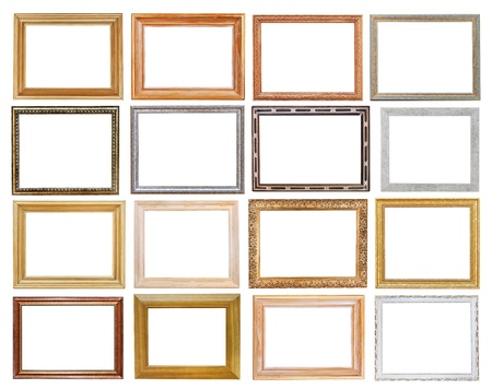 set of wide picture frames with cutout canvas isolated on white background photo