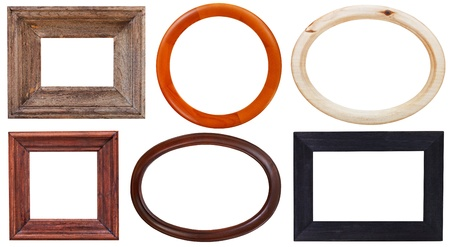 set of wooden picture frame with cutout canvas isolated on white background photo