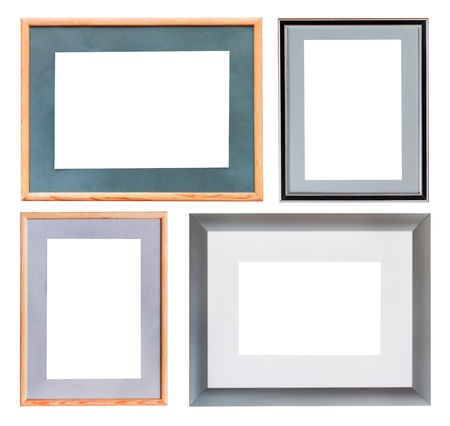 set of picture frame with mat with cutout canvas isolated on white background photo