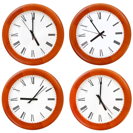set of wooden round wall dial clock isolated on white background photo