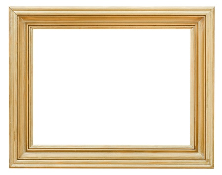 wide clacssical gilded picture frame with cutout canvas isolated on white background photo