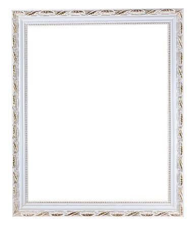 retro white carved picture frame with cutout canvas isolated on white background photo