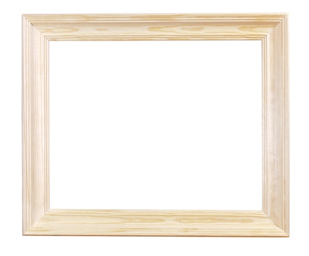 wide light wood picture frame with cutout canvas isolated on white background