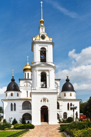 Bell tower of Dormition Cathedral of Kremlin in Dmitrov, Russia photo