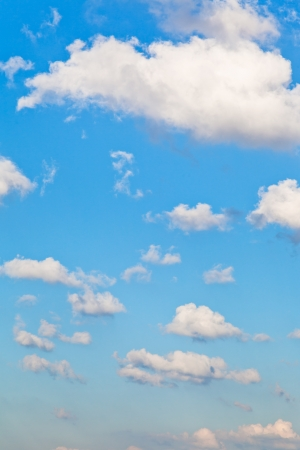 white small clouds in blue sky in summer afternoon photo