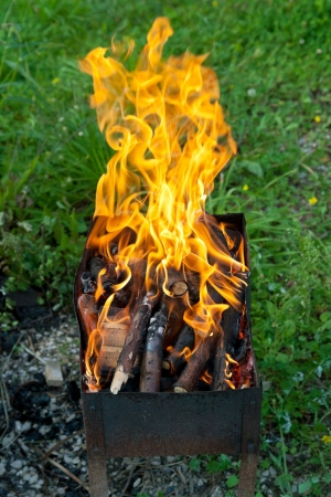 tongues of flame over burning wood in outdoor grill photo