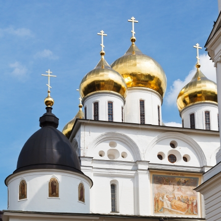 golden cupola of Dormition Cathedral of Dmitrov Kremlin, Russia photo